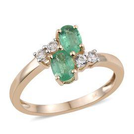 9K Yellow Gold Boyaca Colombian Emerald (Ovl), Natural Cambodian Zircon Crossover Ring 1.000 Ct,