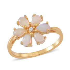 Ethiopian Opal (Pear), Natural Cambodian White Zircon Floral Ring in 14K Gold Overlay Sterling Silver 1.000 Ct.