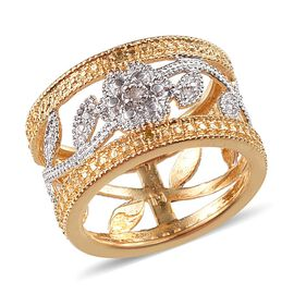 Diamond (Rnd) Floral and Leaves Band Ring in Platinum and Yellow Gold Bond
