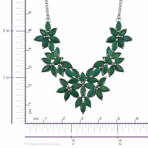 Kagem Zambian Emerald (Mrq) Floral Necklace (Size 18) in Platinum Overlay Sterling Silver 12.000 Ct.