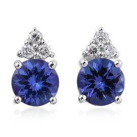 ILIANA 18K White Gold AAA Tanzanite Round, Diamond (SI G-H) Earrings 1.90 Carat with Screw Back.
