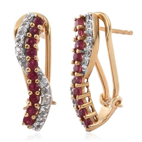 African Ruby and White Topaz 1.75 Carat Bypass Silver Earrings in Gold Overlay with French Clip