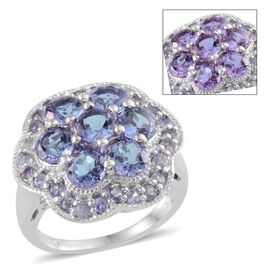 Lavender Alexite (Rnd), Tanzanite Ring in Platinum Overlay Sterling Silver 6.500 Ct.