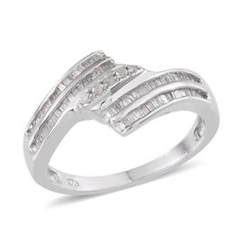 Diamond (Rnd) Crossover Ring in Platinum Overlay Sterling Silver 0.500 Ct.
