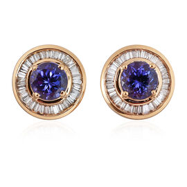 ILIANA 18K Yellow Gold AAA Tanzanite, Diamond SI G-H Stud Earrings 1.750 Carat with Screw Back.