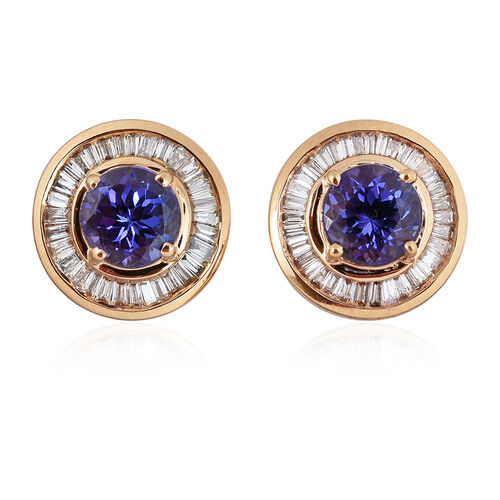ILIANA 18K Yellow Gold 1.75 Carat AAA Tanzanite Halo Stud Earrings, Diamond SI G-H with Screw Back.