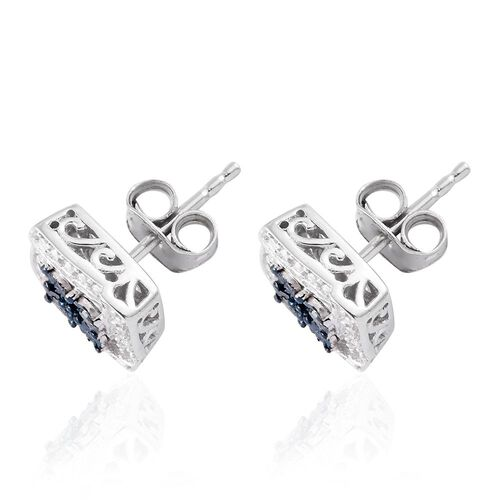 Blue Diamond (Rnd), White Diamond Stud Earrings (with Push Back) in Platinum Overlay Sterling Silver 0.050 Ct.