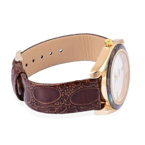 STRADA Mother of Pearl and Ablone Shell Bezel Japanese Movement Cobble Embossed Watch Yellow Gold Tone