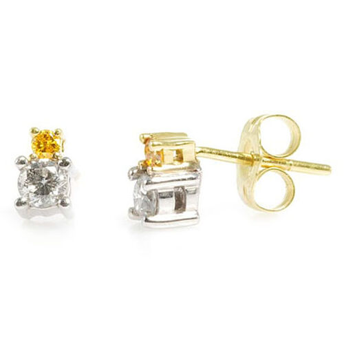 Close Out Deal 14K White, Yellow Gold Diamond (Rnd) and Enhanced Yellow Diamond Earrings 0.330 Ct.