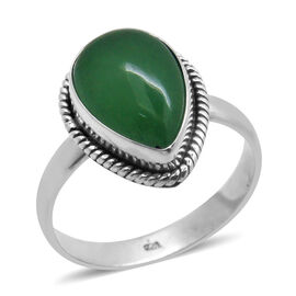 Royal Bali Collection Chinese Green Jade (Ovl) Solitaire Ring in Sterling Silver 5.820 Ct.