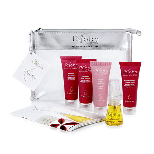 85ml Jojoba Oil with Travel set - Facial Cleanser (20 ml), Hydrating Day Cream (20ml), Jojoba (15ml), Lemon and Coconut Hand Cream  (20ml) and Intense Overnight Renewal Cream (20ml)