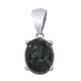 Siberian Seraphinite (Ovl) Solitaire Pendant in Platinum Overlay Sterling Silver 2.000 Ct.