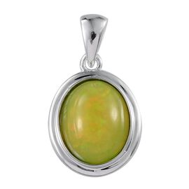 9K W Gold Green Ethiopian Opal (Ovl) Solitaire Pendant 2.500 Ct.