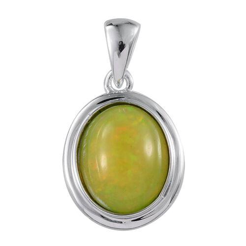 9K W Gold Green Ethiopian Opal (Ovl) Solitaire Pendant 2.500 Ct.