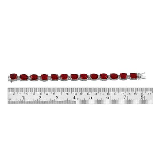 Ruby Quartz (Cush), White Topaz Bracelet in Platinum Overlay Sterling Silver (Size 7.5) 52.000 Ct.