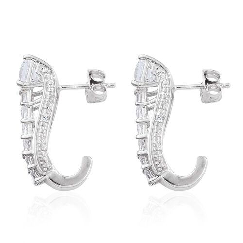 J Francis - Platinum Overlay Sterling Silver Princess Cut (Sqr) Earrings (with Push Back) Made with SWAROVSKI ZIRCONIA