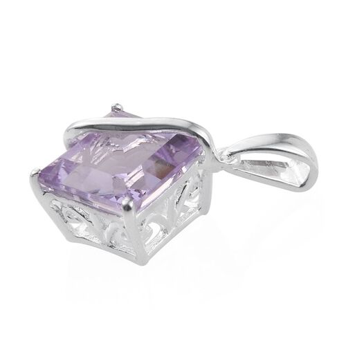 Rose De France Amethyst (Sqr) Solitaire Pendant in Sterling Silver 4.500 Ct.