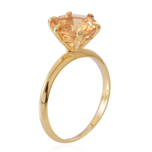 Citrine (Rnd) Solitaire Ring in 14K Gold Overlay Sterling Silver 3.250 Ct.