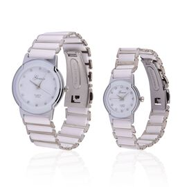 Set of 2 - GENOA Japanese Movement White Austrian Crystal Studded White Dial Water Resistant Watch in Silver Tone with Stainless Steel Back and White Ceramic Strap