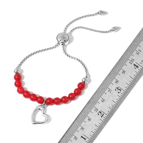 Red Quartzite Adjustable Bracelet (Size 7 to 9) with Heart Charm in Stainless Steel 15.050 Ct.
