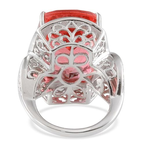 Padparadscha Colour Quartz (Cush 23.00 Ct), Diamond Ring in Platinum Overlay Sterling Silver 23.050 Ct.