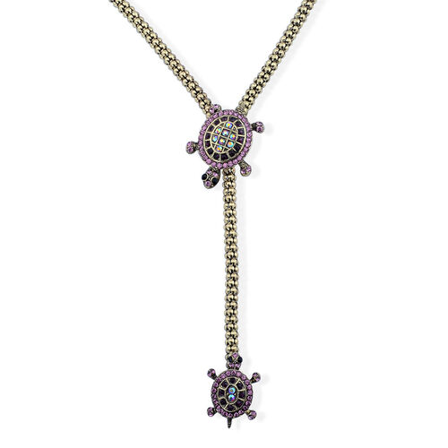 Multi Colour Austrian Crystal Necklace (Size 36) in Gold Tone