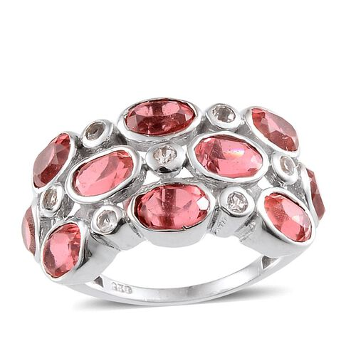 Padparadscha Colour Quartz (Ovl), White Topaz Ring in Platinum Overlay Sterling Silver 5.750 Ct.