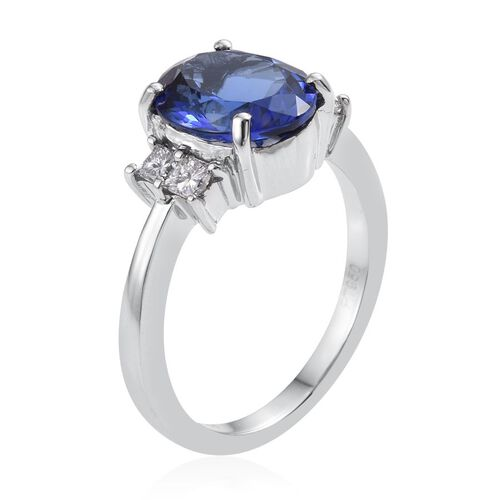 RHAPSODY 950 Platinum AAAA Tanzanite (Oval 4.50 Ct), Diamond (VS E-F) Ring 5.000 Ct.