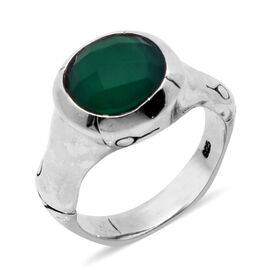 Royal Bali Collection Green Onyx (Rnd) Solitaire Ring in Sterling Silver 3.130 Ct.