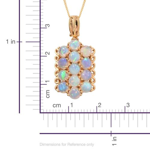 Ethiopian Welo Opal (Rnd) Pendant With Chain (Size 18) in 14K Gold Overlay Sterling Silver 2.500 Ct.