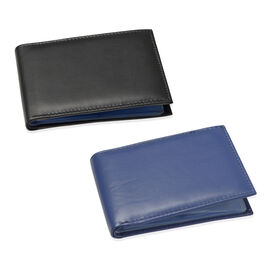 Set of 2 - Genuine Leather Blue and Black Colour RFID Bi-Fold Wallet Cum Card Holder with 24 Card Slots (Can hold Up to 96 Cards)  (Size 14x10 Cm)