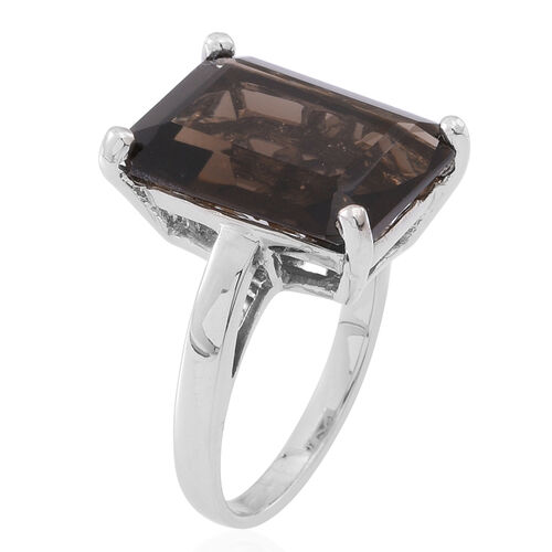 Brazilian Smoky Quartz (Oct) Ring in Rhodium Plated Sterling Silver Ring Ct.