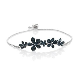 Kimberley Forget Me Not Collection - Blue Diamond (Rnd) Adjustable Bracelet (Size 7.5) in Platinum Overlay Sterling Silver 0.500 Ct.