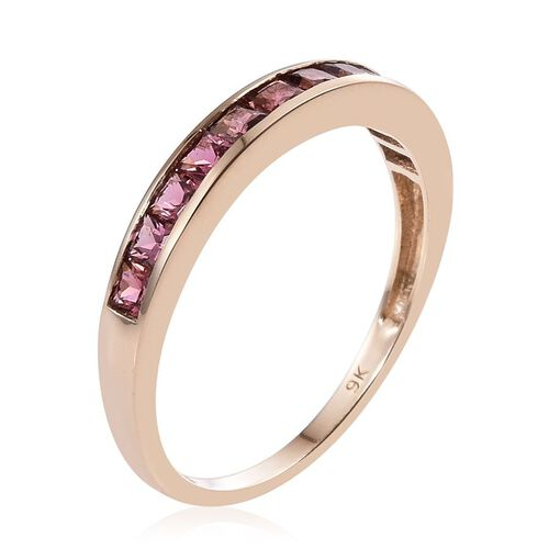 9K Y Gold Pink Tourmaline (Sqr) Half Eternity Band Ring 1.000 Ct.