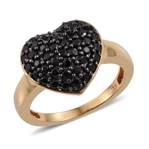 Boi Ploi Black Spinel Heart Silver Ring in 14K Gold Overlay 2.250 Ct.