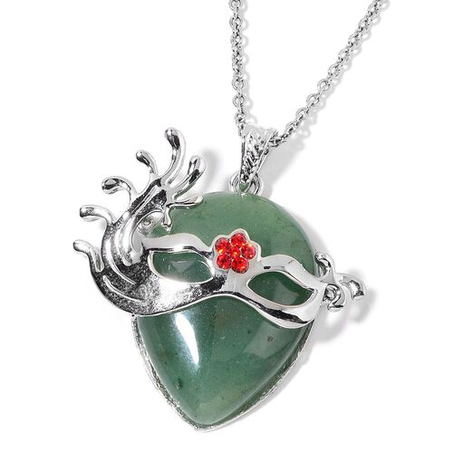 Green Aventurine and Red Austrian Crystal Mask Pendant With Chain (Size 32) in Silver Tone with Stainless Steel 25.500 Ct.