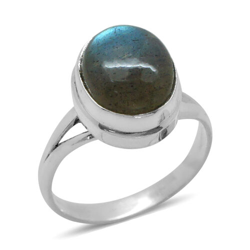 Royal Bali Collection Labradorite (Ovl) Solitaire Ring in Sterling Silver 5.650 Ct.