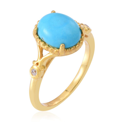 Arizona Sleeping Beauty Turquoise (Ovl), Natural Cambodian White Zircon Ring in 14K Gold Overlay Sterling Silver 2.750 Ct.