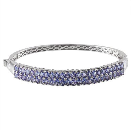 Tanzanite (Ovl), Diamond Bangle (Size 7.5) in Platinum Overlay Sterling Silver 9.020 Ct.