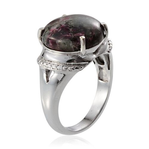 Natural Russian Eudialyte (Rnd) Solitaire Ring in Platinum Overlay Sterling Silver 5.500 Ct.