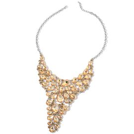 AAA Champagne Colour Austrian Crystal and Simulated Champagne Diamond BIB Necklace Necklace (Size 20 with 2 inch Extender) in Silver Tone