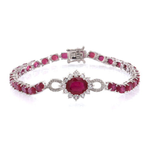 African Ruby (Ovl 3.77 Ct), White Topaz Bracelet (Size 7.5) in Rhodium Plated Sterling Silver 23.000 Ct.