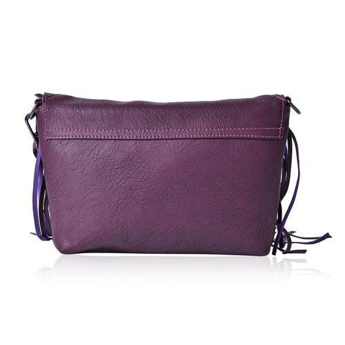 Dark Purple Colour Crossbody Bag with Fringes and Adjustable, Removable Shoulder Strap (Size 26x18 Cm)
