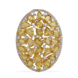 9K Y Gold AAAA Yellow Sapphire (Ovl), Natural Cambodian Zircon Pendant 15.000 Ct.