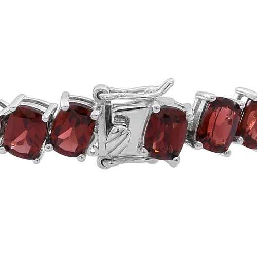 Mozambique Garnet (Cush) Tennis Bracelet (Size 8) in Rhodium Plated Sterling Silver 42.000 Ct.
