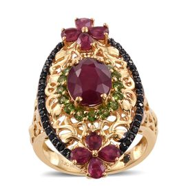 GP African Ruby (Ovl 3.70 Ct), Russian Diopside, Boi Ploi Black Spinel and Kanchanaburi Blue Sapphire Ring in 14K Gold Overlay Sterling Silver 7.000 Ct.