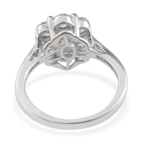 J Francis - Platinum Overlay Sterling Silver (Rnd) 7 Stone Floral Ring Made with SWAROVSKI ZIRCONIA 1.270 Ct.