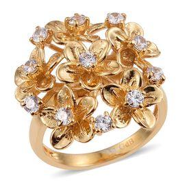 18K Yellow Gold Bond (Rnd) Floral Ring Made with SWAROVSKI ZIRCONIA