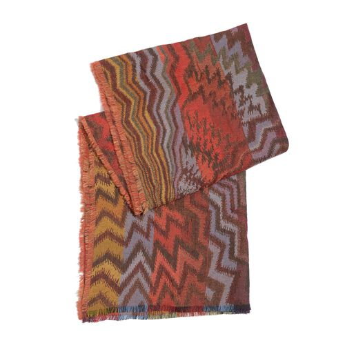 100% Merino Wool Zig Zag Pattern Red, Chocolate and Multi Colour Jacquard Scarf with Fringes (Size 180x50 Cm)