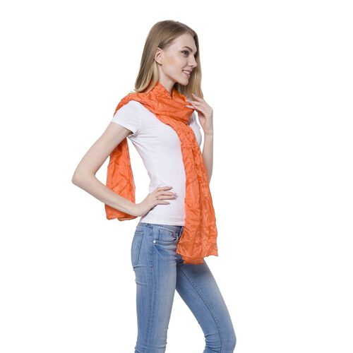 100% Mulberry Silk Pantone Flame Orange Colour Scarf (Size 180x110 Cm)
